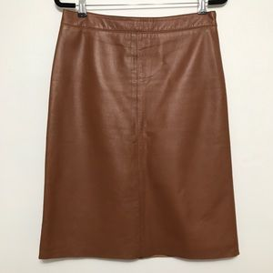 Halogen Cognac Brown Genuine Leather Pencil Skirt